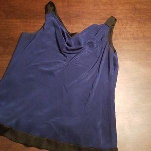 White House Black Market Tops - Blue with Black trim silk tank